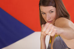 fighting-woman-over-czech-flag-12532738